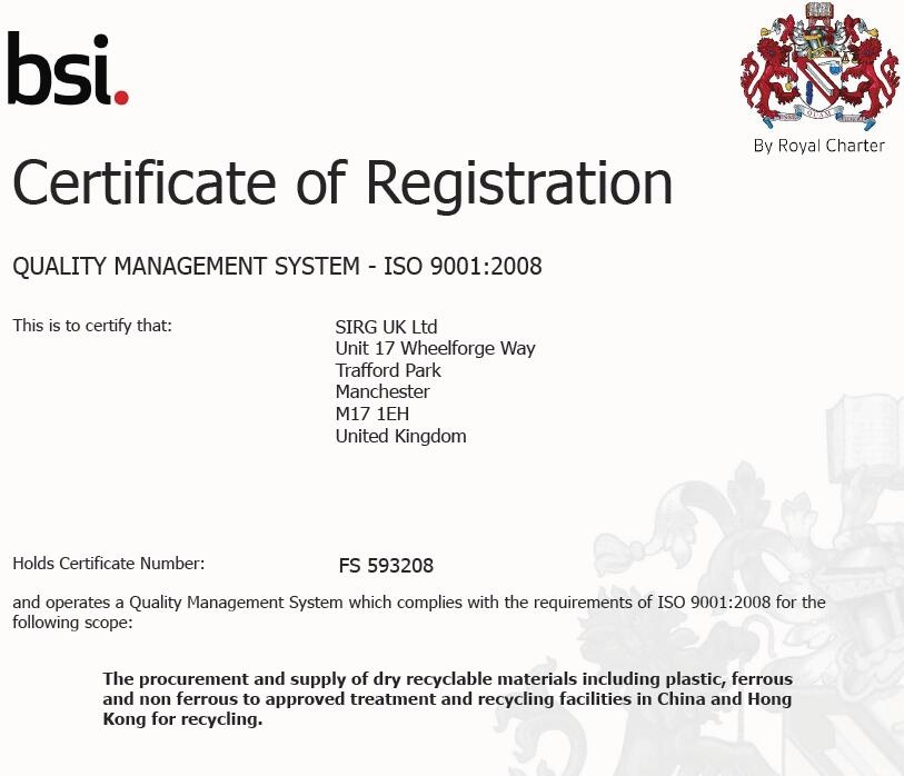 SIRG ISO 9001 - 2008 Certificate - FS 593208